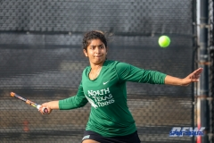 Denton, TX - March 15: Nidhi Surapaneni during the UNT Mean Green Women's Tennis dual match against Georgia State University at the Waranch Tennis Complex in Denton, TX. (Photo by Mark Woods/DFWsportsonline)