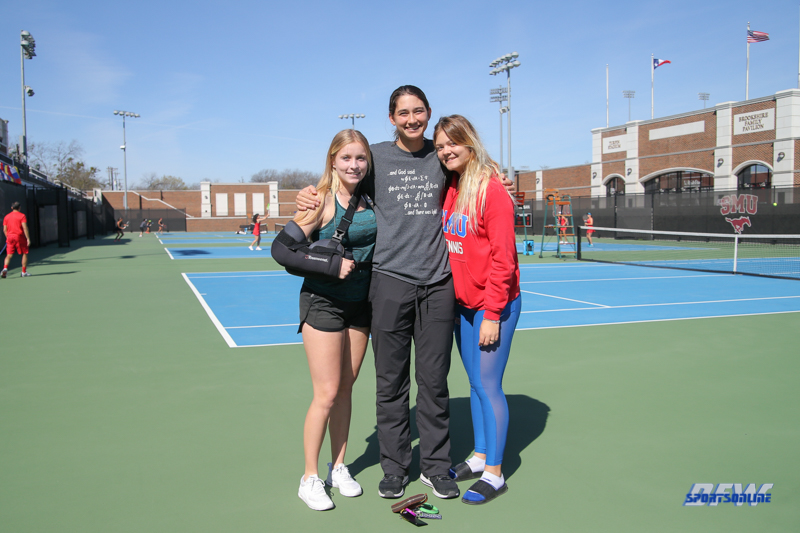 DALLAS, TX - MARCH 16: Vivienne Kulicke, Emma Pieroni, and Anzhelika Shapovalova during the SMU women's tennis match vs Troy on March 16, 2018, at the SMU Tennis Complex, Turpin Stadium & Brookshire Family Pavilion in Dallas, TX. (Photo by George Walker/DFWsportsonline)