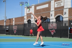 DALLAS, TX - MARCH 16: Charline Anselmo during the SMU women's tennis match vs Troy on March 16, 2018, at the SMU Tennis Complex, Turpin Stadium & Brookshire Family Pavilion in Dallas, TX. (Photo by George Walker/DFWsportsonline)