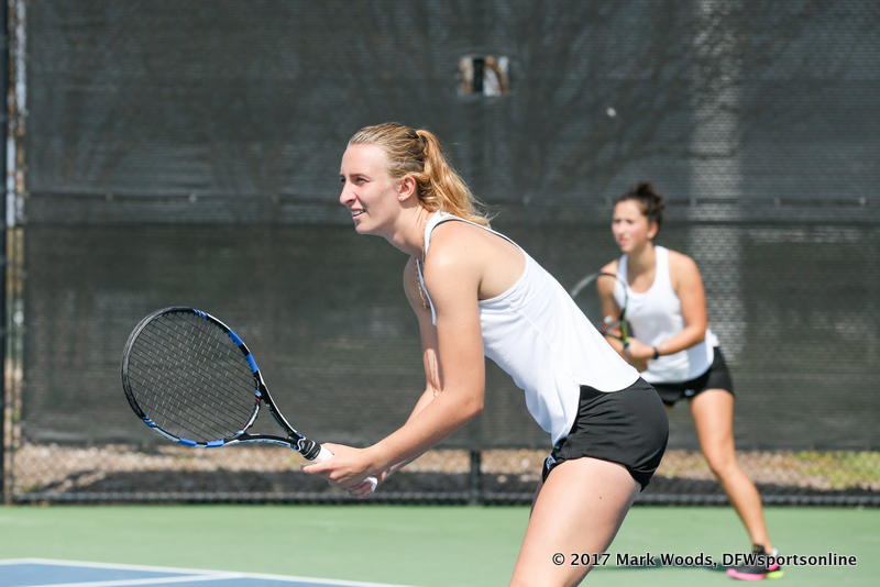 Maria Kononova and Tamuna Kutubidze in their doubles match against KU on March 19, 2017 at Waranch Tennis Center.