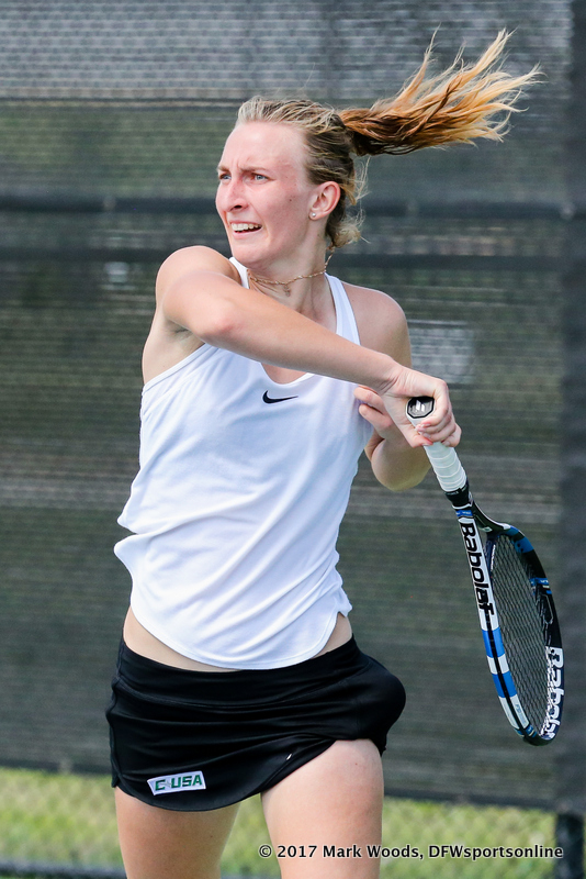 Maria Kononova in her singles match against KU on March 19, 2017 at Waranch Tennis Center.