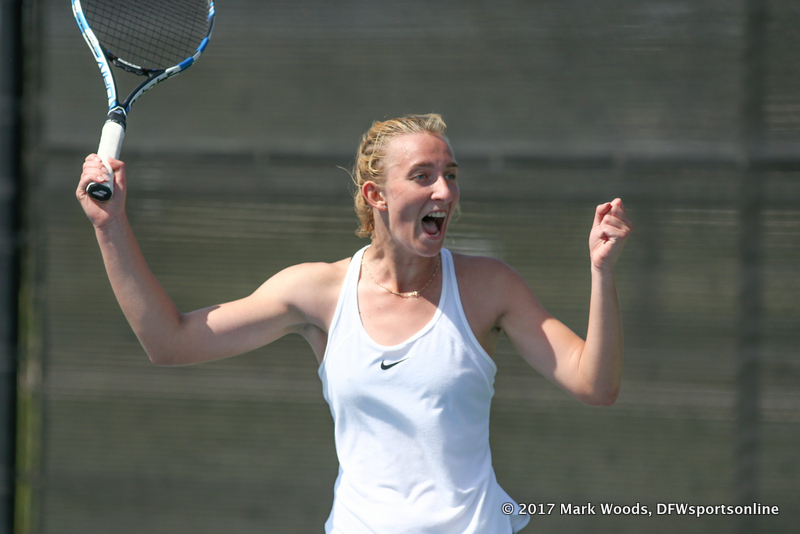 Maria Kononova after her record tying 14th dual match victory against KU on March 19, 2017 at Waranch Tennis Center.
