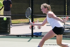 Ivana Babić in her doubles match against KU on March 19, 2017 at Waranch Tennis center.
