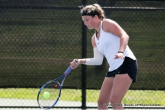 Alexandra Héczey in her doubles match against KU on March 19, 2017 at Waranch Tennis center.
