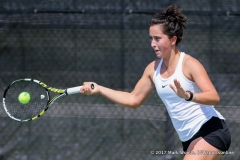 Tamuna Kutubidze in her singles match against KU on March 19, 2017 at Waranch Tennis Center.