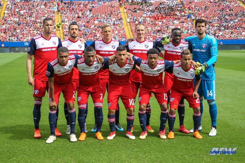 MAR 24, 2018: FC Dallas starting lineup for the MLS game between FC Dallas and Portland Timber on March 24, 2018, at Toyota Stadium in Frisco, TX. (Photo by George Walker/DFWsportsonline)