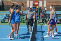 DALLAS, TX - MARCH 31: Coin toss during the SMU women's tennis match vs ECU on March 31, 2018, at the SMU Tennis Complex, Turpin Stadium & Brookshire Family Pavilion in Dallas, TX. (Photo by George Walker/DFWsportsonline)