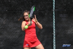 ARLINGTON, TX - APRIL 4: Charline Anselmo hits a forehand during the women's tennis match between UTA and SMU on April 4, 2018, at the UTA Tennis Center in Arlington, TX. (Photo by George Walker/DFWsportsonline)