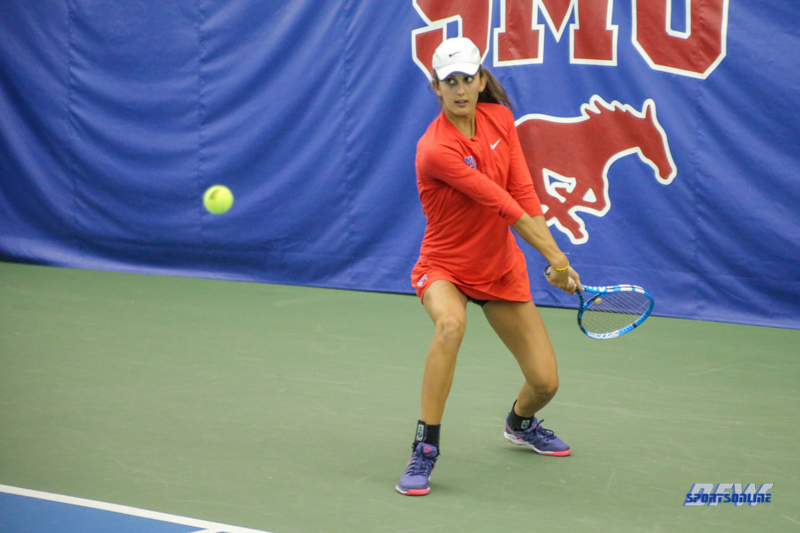 DALLAS, TX - APRIL 12: Tiffany Hollebeck during the SMU women's tennis match vs North Texas on April 12, 2018, at the SMU Tennis Complex, Turpin Stadium & Brookshire Family Pavilion in Dallas, TX. (Photo by George Walker/DFWsportsonline)