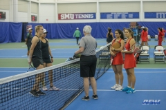 DALLAS, TX - APRIL 12: Coin toss during the SMU women's tennis match vs North Texas on April 12, 2018, at the SMU Tennis Complex, Turpin Stadium & Brookshire Family Pavilion in Dallas, TX. (Photo by George Walker/DFWsportsonline)