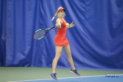 DALLAS, TX - APRIL 12: Nicole Petchey hits a forehand during the SMU women's tennis match vs North Texas on April 12, 2018, at the SMU Tennis Complex, Turpin Stadium & Brookshire Family Pavilion in Dallas, TX. (Photo by George Walker/DFWsportsonline)