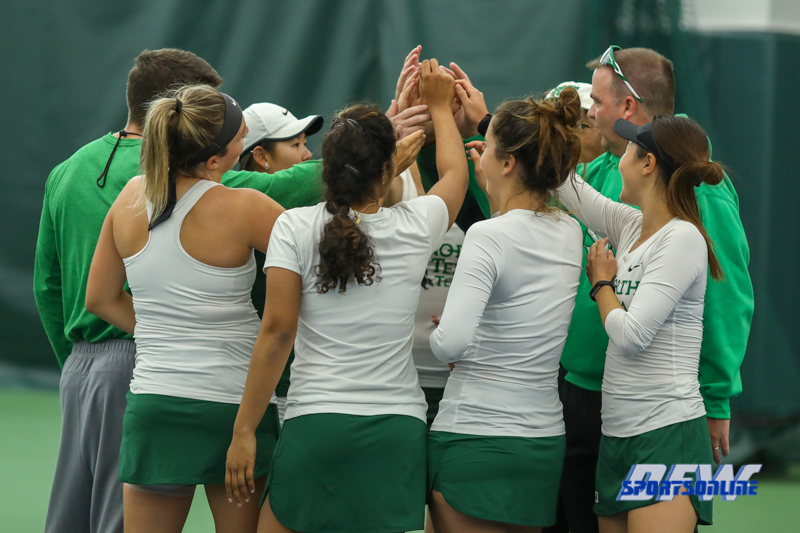 Plano, TX - April 14: Pre-match huddle before the North Texas Women's Tennis dual match against the University of Arlington at the Lifetime Plano Tennis facility in Plano, TX. (Photo by Mark Woods/DFWsportsonline)