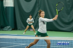 Plano, TX - April 14: Tamuna Kutubidze prepares to volley during the North Texas Women's Tennis dual match against the University of Arlington at the Lifetime Plano Tennis facility in Plano, TX. (Photo by Mark Woods/DFWsportsonline)