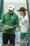 Plano, TX - April 14: Head Coach Sujay Lama discusses a point with Haruka Sasaki during the North Texas Women's Tennis dual match against the University of Arlington at the Lifetime Plano Tennis facility in Plano, TX. (Photo by Mark Woods/DFWsportsonline)