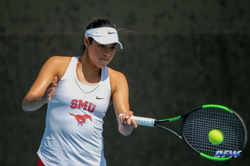 DALLAS, TX - APRIL 18: Ana Perez-Lopez during the SMU women's tennis match vs Temple on April 18, 2018, at the SMU Tennis Complex, Turpin Stadium & Brookshire Family Pavilion in Dallas, TX. (Photo by George Walker/DFWsportsonline)