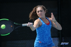 DALLAS, TX - APRIL 19: Charline Anselmo during the SMU women's tennis match vs USF on April 19, 2018, at the SMU Tennis Complex, Turpin Stadium & Brookshire Family Pavilion in Dallas, TX. (Photo by George Walker/DFWsportsonline)