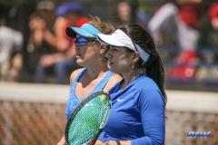 DALLAS, TX - APRIL 19: Karina Traxler and Sarai Monarrez Yesaki during the SMU women's tennis match vs USF on April 19, 2018, at the SMU Tennis Complex, Turpin Stadium & Brookshire Family Pavilion in Dallas, TX. (Photo by George Walker/DFWsportsonline)