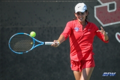 DALLAS, TX - APRIL 20: Tiffany Hollebeck during the SMU women's tennis match vs UCF on April 20, 2018, at the SMU Tennis Complex, Turpin Stadium & Brookshire Family Pavilion in Dallas, TX. (Photo by George Walker/DFWsportsonline)