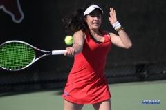 DALLAS, TX - APRIL 20: Sarai Monarrez Yesaki during the SMU women's tennis match vs UCF on April 20, 2018, at the SMU Tennis Complex, Turpin Stadium & Brookshire Family Pavilion in Dallas, TX. (Photo by George Walker/DFWsportsonline)
