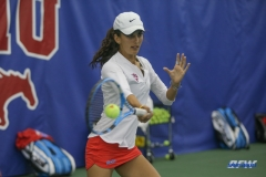 DALLAS, TX - APRIL 21: Tiffany Hollebeck during the SMU women's tennis match vs Tulsa on April 21, 2018, at the SMU Tennis Complex, Turpin Stadium & Brookshire Family Pavilion in Dallas, TX. (Photo by George Walker/DFWsportsonline)
