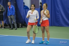 DALLAS, TX - APRIL 21: Sarai Monarrez Yesaki and Karina Traxler during the SMU women's tennis match vs Tulsa on April 21, 2018, at the SMU Tennis Complex, Turpin Stadium & Brookshire Family Pavilion in Dallas, TX. (Photo by George Walker/DFWsportsonline)