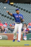 ARLINGTON, TX - APRIL 24: Texas Rangers third baseman Adrian Beltre (29) throws to first base during the game between the Texas Rangers and the Oakland Athletics on April 24, 2018 at Globe Life Park in Arlington, TX. (Photo by George Walker/Icon Sportswire)
