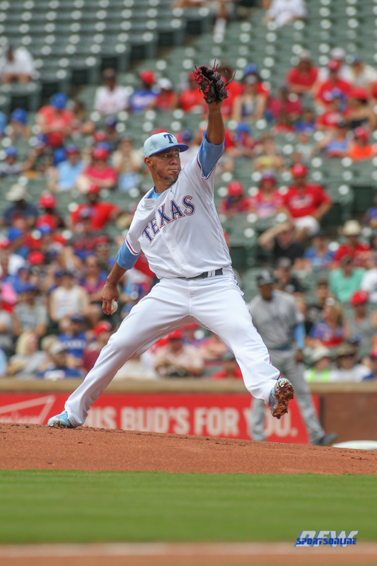 ARLINGTON, TX - JUN 17: Texas Rangers pitcher Yovani Gallardo (49) during the game between the Colorado Rockies and Texas Rangers on June 17, 2018, at Globe Life Park in Arlington, TX. (Photo by George Walker/DFWsportsonline)