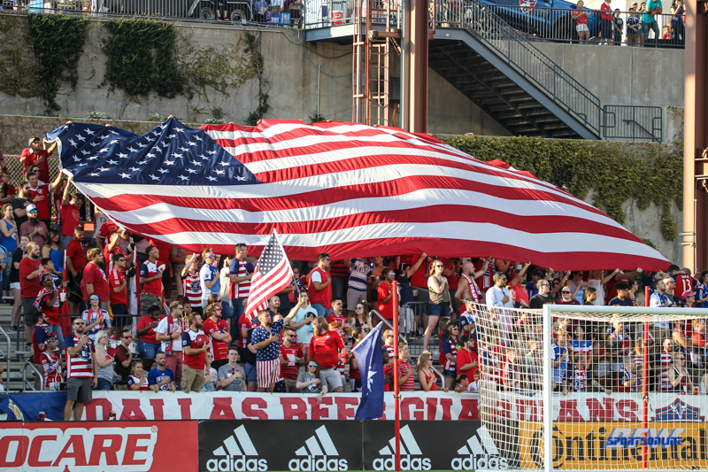 JULY 4, 2018: Fans unfurl an American flag during the MLS game between FC Dallas and Atlanta United on July 4, 2018, at Toyota Stadium in Frisco, TX. (Photo by George Walker/DFWsportsonline)