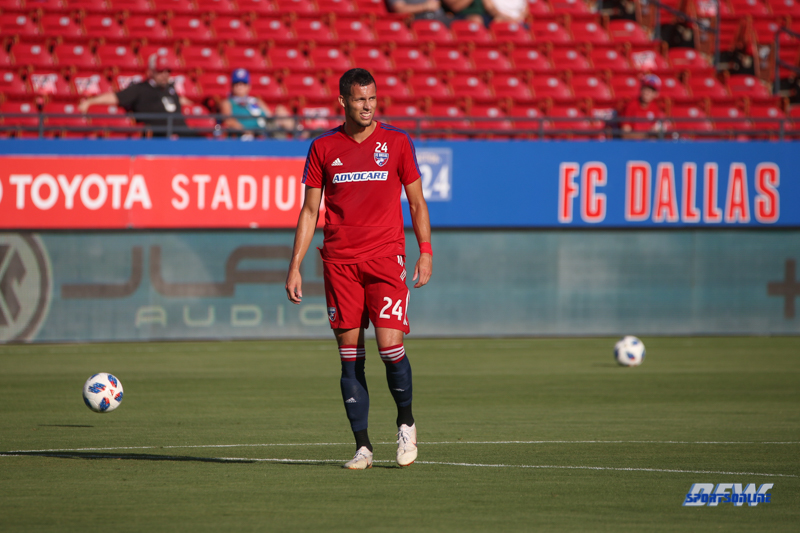 July 14, 2018: FC Dallas defender Matt Hedges (24) prior to the MLS game between FC Dallas and Chicago Fire on July 14, 2018, at Toyota Stadium in Frisco, TX. (Photo by George Walker/DFWsportsonline)