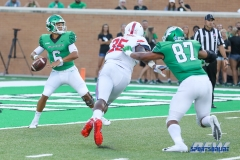 DENTON, TX - SEPTEMBER 01: UNT quarterback Mason Fine (6) about to pass during the game between North Texas and SMU on September 1, 2018 at Apogee Stadium in Denton, TX. (Photo by Mark Woods/DFWsportsonline)