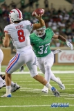 DENTON, TX - SEPTEMBER 01: UNT linebacker Brandon Garner (37) applying pressure to SMU quarterback Ben Hicks (8) during the game between North Texas and SMU on September 1, 2018 at Apogee Stadium in Denton, TX. (Photo by Mark Woods/DFWsportsonline)