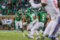DENTON, TX - SEPTEMBER 01: UNT quarterback Mason Fine (6) passes to running back Evan Johnson (7) during the game between North Texas and SMU on September 1, 2018 at Apogee Stadium in Denton, TX. (Photo by Mark Woods/DFWsportsonline)