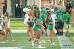 DENTON, TX - SEPTEMBER 01: North Texas cheerleaders perform during the game between North Texas and SMU on September 1, 2018 at Apogee Stadium in Denton, TX. (Photo by George Walker/DFWsportsonline)