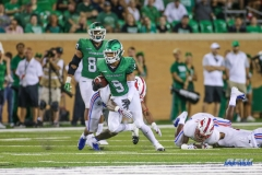 DENTON, TX - SEPTEMBER 01: North Texas Mean Green wide receiver Jalen Guyton (9) runs after a catch during the game between North Texas and SMU on September 1, 2018 at Apogee Stadium in Denton, TX. (Photo by George Walker/DFWsportsonline)