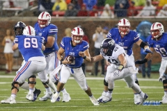 DALLAS, TX - SEPTEMBER 07: Southern Methodist Mustangs quarterback Ben Hicks (8) tries to avoid a hit by TCU Horned Frogs linebacker Ty Summers (42) during the game between TCU and SMU on September 7, 2018 at Gerald J. Ford Stadium in Dallas, TX. (Photo by George Walker/DFWsportsonline)