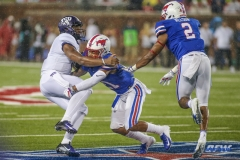 DALLAS, TX - SEPTEMBER 07: TCU Horned Frogs quarterback Shawn Robinson (3) is hit by Southern Methodist Mustangs safety Cole Sterns (21) during the game between TCU and SMU on September 7, 2018 at Gerald J. Ford Stadium in Dallas, TX. (Photo by George Walker/DFWsportsonline)