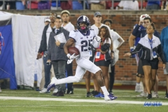 DALLAS, TX - SEPTEMBER 07: TCU Horned Frogs wide receiver KaVontae Turpin (25) returns a punt for a touchdown during the game between TCU and SMU on September 7, 2018 at Gerald J. Ford Stadium in Dallas, TX. (Photo by George Walker/DFWsportsonline)