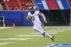 DALLAS, TX - SEPTEMBER 07: TCU Horned Frogs quarterback Shawn Robinson (3) runs during the game between TCU and SMU on September 7, 2018 at Gerald J. Ford Stadium in Dallas, TX. (Photo by George Walker/DFWsportsonline)