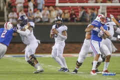 DALLAS, TX - SEPTEMBER 07: TCU Horned Frogs quarterback Shawn Robinson (3) passes during the game between TCU and SMU on September 7, 2018 at Gerald J. Ford Stadium in Dallas, TX. (Photo by George Walker/DFWsportsonline)