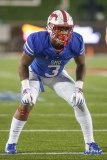 DALLAS, TX - SEPTEMBER 07: Southern Methodist Mustangs linebacker Delano Robinson (3) waits for the snap during the game between TCU and SMU on September 7, 2018 at Gerald J. Ford Stadium in Dallas, TX. (Photo by George Walker/Icon Sportswire)