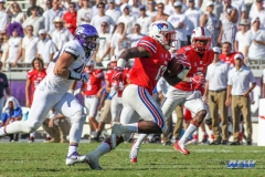 DALLAS, TX - SEPTEMBER 16: Southern Methodist Mustangs running back Ke'Mon Freeman (13) during the game between the SMU Mustangs and TCU Horned Frogs on September 16, 2017, at Amon G. Carter Stadium in Fort Worth, Texas. (Photo by George Walker/DFWsportsonline)