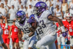 DALLAS, TX - SEPTEMBER 16: TCU Horned Frogs running back Sewo Olonilua (33) runs up the field during the game between the SMU Mustangs and TCU Horned Frogs on September 16, 2017, at Amon G. Carter Stadium in Fort Worth, Texas. (Photo by George Walker/DFWsportsonline)