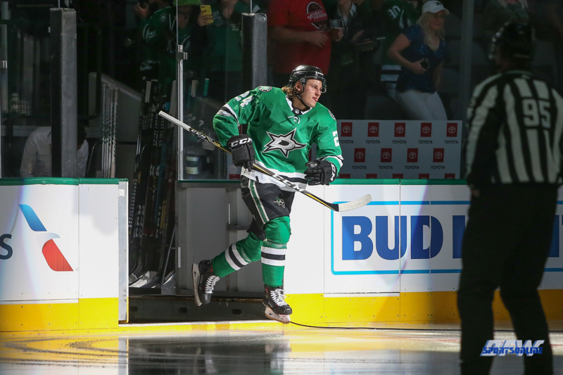SEPTEMBER 18, 2018: Dallas Stars left wing Roope Hintz takes the ice during the game between the Dallas Stars and St. Louis Blues on September 18, 2018, at the American Airlines Center in Dallas, TX. (Photo by George Walker/DFWsportsonline)