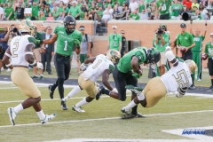 DENTON, TX - SEPTEMBER 23: UNT RUNNING BACK JEFFERY WILSON (3) SCORING A TOUCHDOWN DURING THE GAME BETWEEN THE UNT MEAN GREEN AND UAB BLAZERS ON SEPTEMBER 23, 2017, AT APOGEE STADUIM IN DENTON, TEXAS. (PHOTO BY MARK WOODS/DFWSPORTSONLINE)