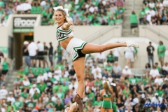 DENTON, TX - SEPTEMBER 23: UNT CHEERLEADER DURING THE GAME BETWEEN THE UNT MEAN GREEN AND UAB BLAZERS ON SEPTEMBER 23, 2017, AT APOGEE STADUIM IN DENTON, TEXAS. (PHOTO BY MARK WOODS/DFWSPORTSONLINE)