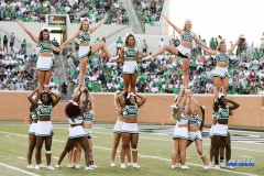 DENTON, TX - SEPTEMBER 23: UNT CHEERLEADERS DURING A BREAK IN THE GAME BETWEEN THE UNT MEAN GREEN AND UAB BLAZERS ON SEPTEMBER 23, 2017, AT APOGEE STADUIM IN DENTON, TEXAS. (PHOTO BY MARK WOODS/DFWSPORTSONLINE)