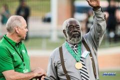 DENTON, TX - SEPTEMBER 23: UNT ALUMNI ABNER HAYNES WAS PRESENTED WITH THE PERSIDENTIAL MEDAL OF HONOR AT HALFTIME DURING THE GAME BETWEEN THE UNT MEAN GREEN AND UAB BLAZERS ON SEPTEMBER 23, 2017, AT APOGEE STADUIM IN DENTON, TEXAS. (PHOTO BY MARK WOODS/DFWSPORTSONLINE)