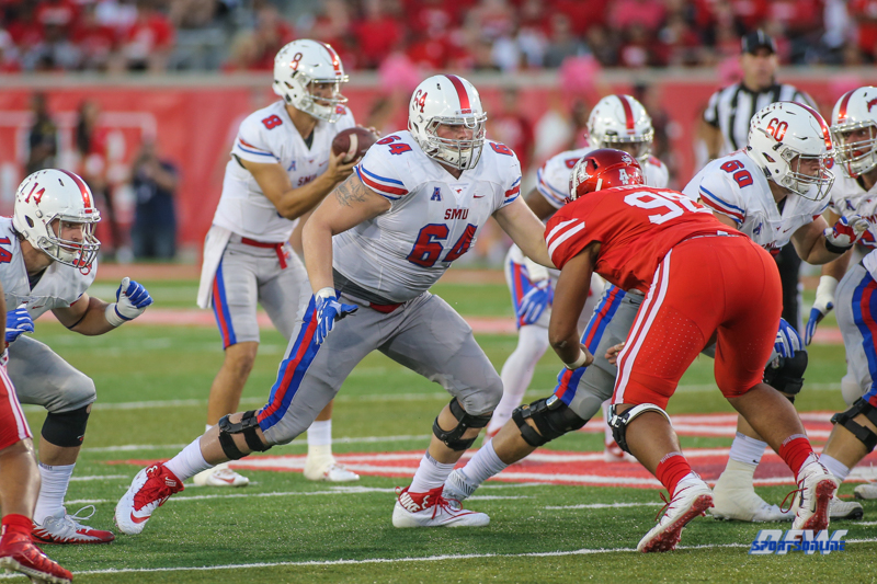 HOUSTON, CA - OCTOBER 07: Southern Methodist Mustangs offensive lineman Bryce Wilds (64) during the game between SMU and Houston on October 7, 2017, at TDECU Stadium in Houston, TX. (Photo by George Walker/DFWsportsonline)