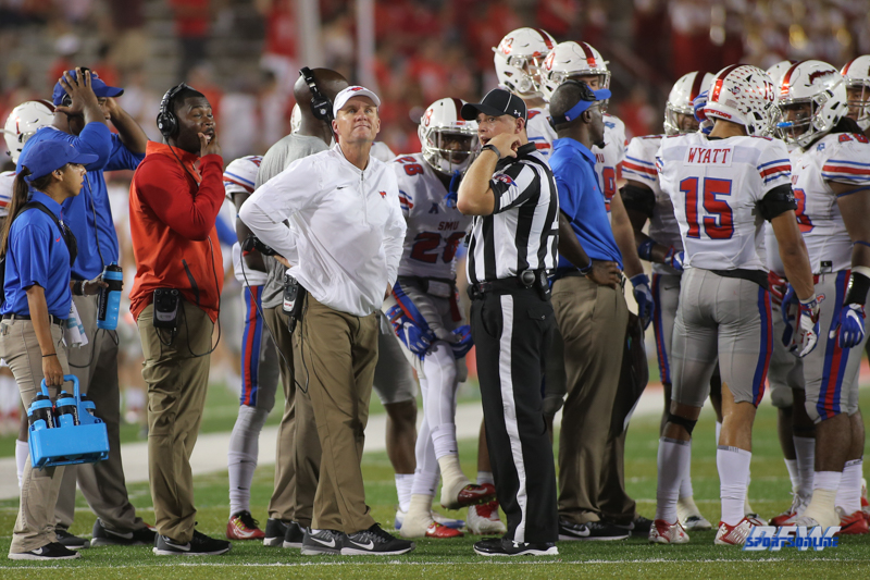 HOUSTON, CA - OCTOBER 07: Southern Methodist Mustangs head coach Chad Morris during the game between SMU and Houston on October 7, 2017, at TDECU Stadium in Houston, TX. (Photo by George Walker/DFWsportsonline)
