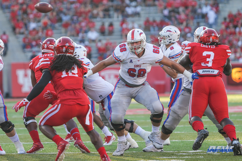 HOUSTON, CA - OCTOBER 07: Southern Methodist Mustangs offensive lineman Nick Natour (68) protects the quarterback during the game between SMU and Houston on October 7, 2017, at TDECU Stadium in Houston, TX. (Photo by George Walker/Icon Sportswire)